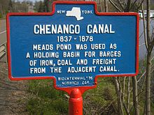 Historic marker of Chenango Canal at Meads Pond, North Norwich, NY