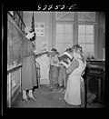 Children and teacher in a Mennonite school Pennsylvania 1942.jpg