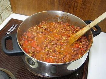 Pot of Chili sin carne, cooking on the stove.