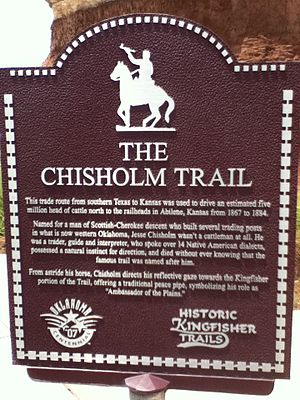 Chisholm Trail - Chisholm Trail historical marker in Kingfisher, Oklahoma