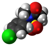Space-filling model of the chlormezanone molecule