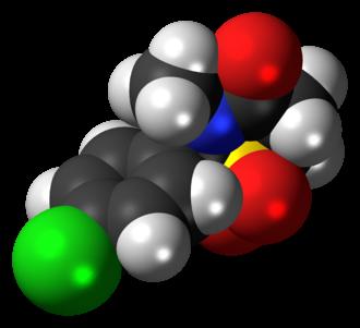 Chlormezanone - Image: Chlormezanone 3D spacefill