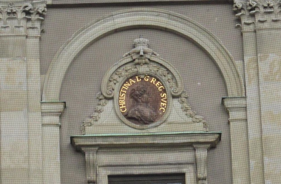 Christina of Sweden (1626) outdoor relief 2013 Stockholm Palace