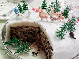 Christmas cake type of fruitcake served at Christmas time
