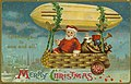 "Christmas postcard with Santa Claus and bag of toys in a basket suspended by greenery from an airship, with ""Greetings to one and all - Merry Christmas."".jpg"