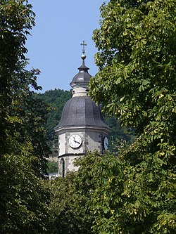 The tower of the Roman Catholic church of Nagymaros