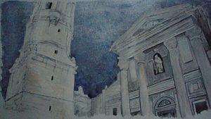 Vilanova i la Geltrú - The Church of San Antoni and bell tower in Vilanova, water color painting by Brad Erickson.