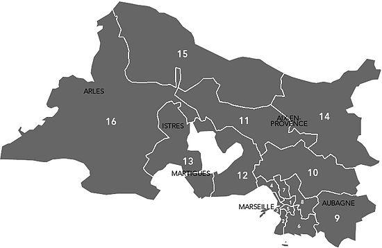 Liste des circonscriptions l gislatives des bouches du for Bouche rhone