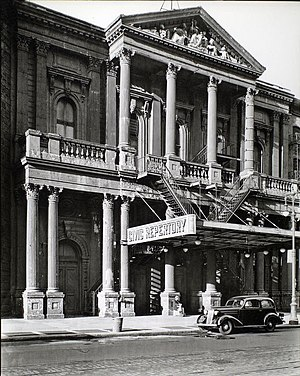 Fourteenth Street Theatre - The theatre in 1936 with fire escapes added, photographed by Berenice Abbott