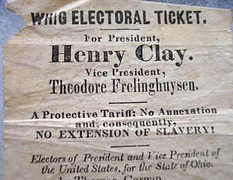 Whig Party (United States) - The Whig Party handbill for Henry Clay–Theodore Frelinghuysen, 1844
