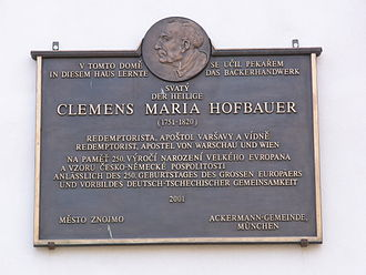 Clement Mary Hofbauer - The memorial plaque on the building