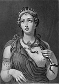 Cleopatra VII, steel engraving of the encaustic painting found at Hadrian's Villa in 1818.jpg