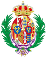 Coat of arms of Maria Mercedes of Bourbon, Countess of Barcelona as consort of the Pretender to the Spanish Throne.svg