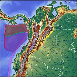 Coiba Plate - Coiba Plate in dark red, Malpelo Plate in purple CTF in green, PTF in red