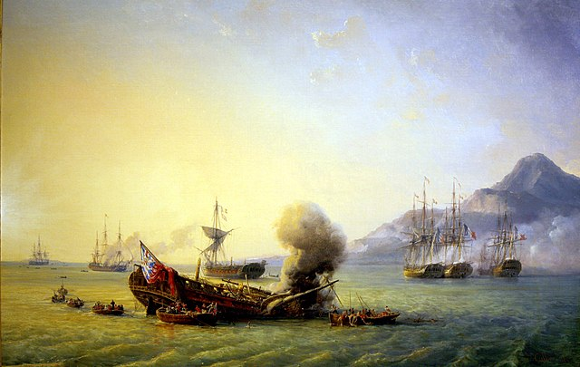 The Battle of Grand Port in Mauritius between the France and England in 1810. Painting by artist Pierre Julien Gilbert.