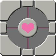 Vista lateral do Weighted Companion Cube