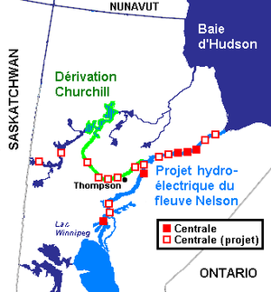 Geography of Manitoba - Hydroelectrical complex on Churchill and Nelson rivers