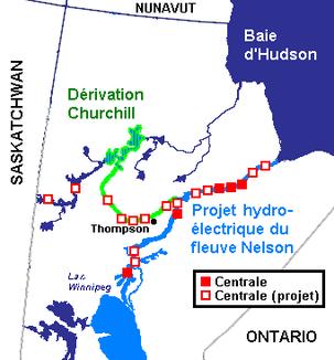 Karte mit Zuleitung von Wasser des Churchill River, sowie Lage der Wasserkraftwerke am Nelson River