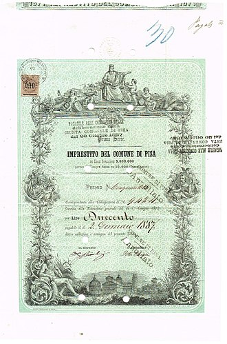 Pisa - Bonus certificate of Pisa, issued 19 July 1875