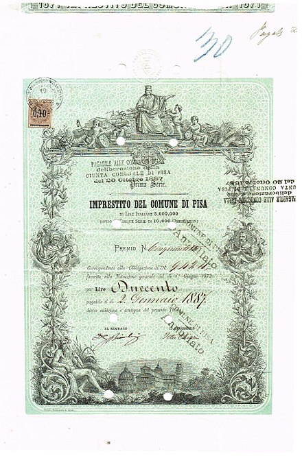 Bonus certificate of Pisa, issued 19 July 1875 Comune di Pisa 1895.jpg