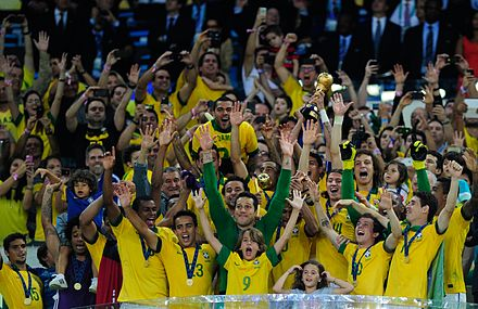 Brazilian players celebrate winning the 2013 FIFA Confederations Cup. The team had five wins in five matches. ConfedCup2013Champions4.jpg