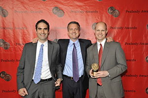30 for 30 - Connor Schell, Bill Simmons and John Dahl with award for 30 for 30 at the 70th Annual Peabody Awards