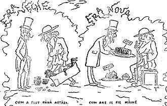 "Petre P. Carp - A Constantin Jiquidi cartoon, poking fun at Carp's Era Nouă government (November 1888). In the ""old era"", peasants feed their masters; in Carp's ""new era"", the roles are politely alternated"