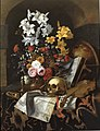 Cornelis Norbertus Gijsbrechts - Vanitas still life with bouquet of flowers, a skull, a globe, a violin and documents.jpg
