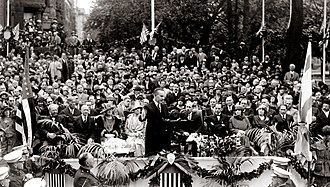 Washington, D.C. Jewish Community Center - U.S. President Calvin Coolidge delivers a speech during the DCJCC cornerstone ceremony, May 3, 1925.
