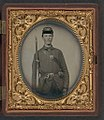 Corporal Alvin B. Williams of Company F, 11th Regiment New Hampshire Volunteers, with musket and a bayonet in scabbard; dog tag in case LOC 5228556699.jpg