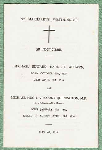 Michael Hicks Beach, 1st Earl St Aldwyn - Memorial service booklet for Lord St Aldwyn and his son