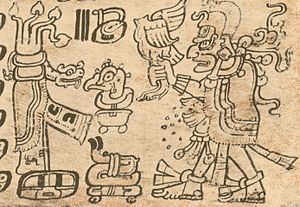 God L - New year ritual with acantun, Dresden Codex