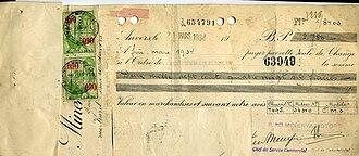 Negotiable instrument - Bill of exchange, 1933