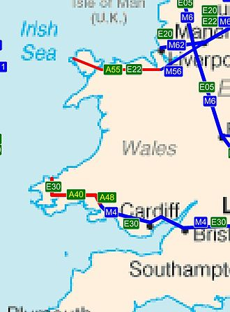 Trunk roads in Wales - The two European routes in Wales (E30 in the south and E22 in the north) are also trunk roads