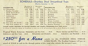 Crusader (train) - The train's first schedule and the contest to name it.