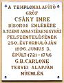 Csáky Imre plaque (Debrecen Szent Anna u 15).jpg