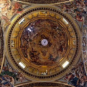 Baroque architecture - Cupola frescoes of the Gesù by Gaulli