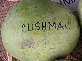 Cushman (mango) - Display of 'Cushman' mango at the Tropical Agricultural Fiesta held in the Fruit and Spice Park in Homestead, Florida.