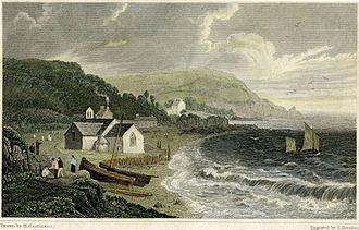 Cwm-yr-Eglwys - St Brynach's church prior to 1831 painted by Henry Gastineau
