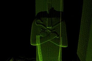 Ramesseum - Laser scanned point cloud image of a headless Osiris pillar, second court, from a CyArk/Supreme Council of Antiquities research partnership