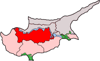Map of Cyprus showing the Greek Cypriot part o...