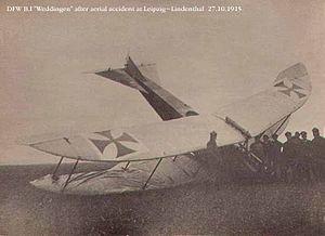 """DFW B.I - Crashed DFW B.I """"Weddingen"""" showing shape of wings"""