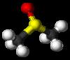 Sterea struktura formulo de dimetilsulfoksido kun eksplicita elektronparo kaj selektita grandeco