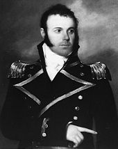Black and white painting of side-burned 30-something man in naval uniform