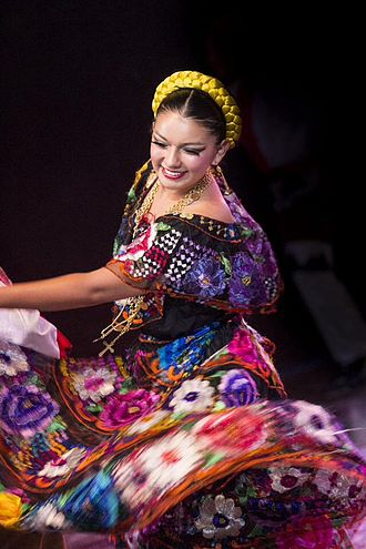 Latin Americans - Mexican dancer in a regional costume of Chiapas.