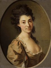 Portrait of a lady with a large decolletage.