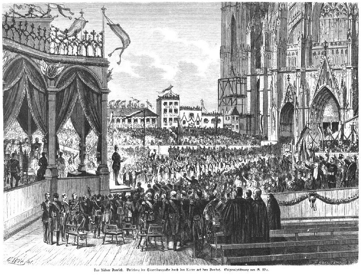 File Das Kolner Domfest Verlesung Der Einweihungsakte Durch Den Kaiser Auf Dem Domhof Gustav Wie 1880 Jpg Wikimedia Commons