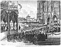 Das Kölner Domfest. Verlesung der Einweihungsakte durch den Kaiser auf dem Domhof, Gustav Wie, 1880.jpg