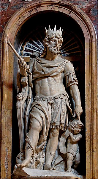 David - Statue of King David by Nicolas Cordier in the Borghese Chapel of the Basilica di Santa Maria Maggiore in Rome, Italy