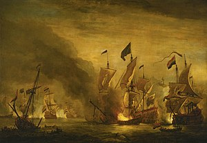 Third Anglo-Dutch War - The Burning of the Royal James at the Battle of Solebay, 7 June 1672 by Willem van de Velde the younger. De Ruyter's flagship De Zeven Provinciën is shown in the left background in close combat with the Vice-Admiral of the Blue, Sir Joseph Jordan on Royal Sovereign. The ship to the right of the burning Royal James is that of Vice-Admiral Johan de Liefde.